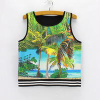 Wholesale Coco Fashion Free Shipping - 3D Coco Tree print women summer top tees 2016 fashion design ladies cropped tank tops lastest style clothes wholesale mixed order free ship