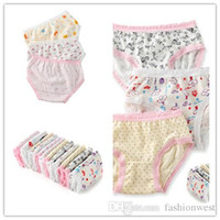 Wholesale Hot Girls Lace Underwear - Toddler Girls Underwear Fashion New Kids Cute Lace and Printing Underwear Hot Children Breathable and Comfortable Underwear