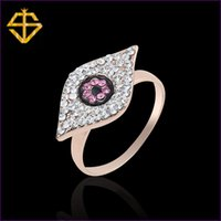 Wholesale Si Rhinestone Jewelry - SI 2015 Summer New Arrival Hip-hop Style Fashion Jewelry Rose Gold Plated Eye Shape Paved Czech Rhinestone Rings For Women Ring