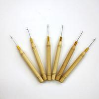 herramienta de pelo de plumas al por mayor-Agujas de gancho Micro Ring Hair Extension Herramienta de gancho de plumas de madera Threader Hook Tool para extensiones de cabello