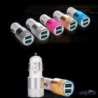 Wholesale S3 Mini Gold - Dual USB Car Charger 5V 2.1A 1A For Apple iPhone 4 5 5S 6 for iPad 2 3 For Samsung Galaxy S3 S4 Note 2 3 Mini Car Charge Adapter