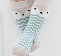 Wholesale Wholesale Socks Designs - 2016 Spring Autumn New Design Baby Socks Cartoon Fox Wave Cotton Knee Length Socks For Kids 16029