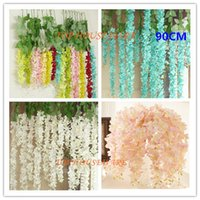 Wholesale Vine Floral For Living Room - 10Colors 90CM Artificial Wisteria Silk Flower Vine For DIY Home Party Wedding Garden Floral Decoration Living Room Valentine Day