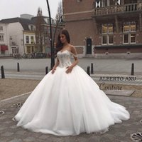 Wholesale Wedding Bridals - 2016 New Off The Shoulder Ball Gown Wedding Dresses Tulle Beaded Crystals Top Floor Length Bridals Gowns