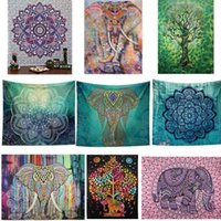 Bohemian Mandala Beach Tapestry Hippie Throw Tappetino yoga Elefante indiano Peacock Poliestere Wall Hanging Décor 150 * 130 cm KKA1456