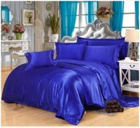 Wholesale Silk Sheets Double - Silk Royal blue bedding sets satin california king size queen full twin quilt duvet cover fitted bed sheet bedspread double 6pcs