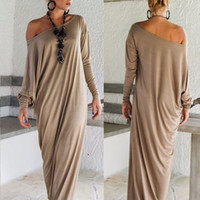 Wholesale neck lanterns - Wholesale-Womens Maxi Long Dress Long Sleeve Casual Sexy Fall Full Sleeve Loose Wrap Oversize Irregular Elegant Party Dresses vestidos