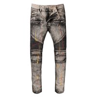 Wholesale Cheap Trouser Jeans - Famous Brand Pierre Rock Biker Jeans Men Ripped Denim Tearing Jeans Trousers Black Cheap Mens Jeans Casual Pants Ruched Boy Jean