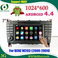 Wholesale Capacitive Android Double Din - Double din car dvd gps Android 4.4 HD 1024*600 Capacitive screen car multimedia car stereo for BENZ W203 2 din dvd Automotivo