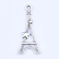 pulseiras eiffel venda por atacado-Diy Antique Silver / liga De Cobre Paris Torre Eiffel Charme Pingente Fit Pulseiras Colar De Jóias De Metal Fazendo 500 pçs / lote 5254 w