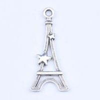 Wholesale Necklaces Paris Tower - DIY Antique Silver   Copper Alloy Paris Eiffel Tower Charm Pendant Fit Bracelets Necklace Metal Jewelry Making 500pcs lot 5254w
