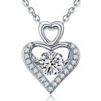 Wholesale 925 Sterling Silver Pendant Necklaces For Women Dancing Diamond Rhodium Plated Classical Love Jewelry With Cubic Zirconia Wedding DP09310D