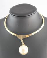 colliers de déclaration perle or achat en gros de-Nouveau Design Chunky Gun Black \ Gold \ Silver Déclaration Collier Big Pearl Bib Collier Collier
