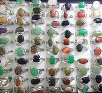 xmas halkaları toptan satış-TOPTAN 50 adet Üst MIX DOĞAL TAŞ halkaları Kadınlar Bayanlar Kristal Charm Yüzükler Toptan Moda Xmas Takı Lots