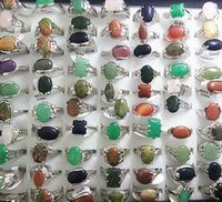 Wholesale Charm Lady Ring - WHOLESALE 50pcs Top MIX NATURAL STONE rings Women Ladies Crystal Charm Rings Wholesale Fashion Xmas Jewelry Lots