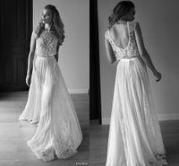 vestido de noiva boémio de duas peças venda por atacado-2015 Lihi Hod vestido de casamento frisado bordado duas peças de casamento vestidos apliques de renda baixo aberto de volta praia boêmio vestido de noiva