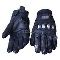 Wholesale Glove For Biker - Wholesale-Full Finger Leather Pro-biker Carbon Fiber Knight Motorcycle Gloves Bicycle Gloves Automobile Racing Gloves Luvas For man M L XL