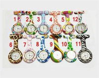 Wholesale Nurse Watch Green - Silicone Nurse Pocket Watch Candy Colors Zebra Leopard Prints Soft band brooch Nurse Watch 11 patterns follower airming