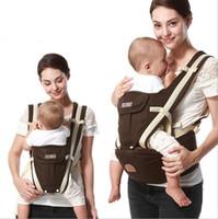 portabebés ergonómicos al por mayor-2019 Nueva mochila ergonómica portabebés multifunción transpirable Mochilas portabebés cochecito para niños pequeños enrollador de tiras + asiento