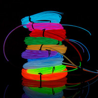 Wholesale El Neon Meter - 2017 3 Meter EL Wire w  Controller Multi Color Neon EL Led Flexible Wire Cuttable And Joinable Clothes & Ornaments Car Decoration