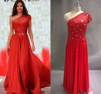 Wholesale Short Chiffon One Shoulder - Real Image Red Short One Shoulder Prom Dresses Backless Beading Floor Length Chiffon Custom Made Elegant Evening Gown Party Dresses