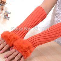 Wholesale Wool Fur Fingerless Long Gloves - Wholesale-2 pairs Women Solid Knitting Wool Arm Warmer Rabbit Fur Mitten Long Fingerless Gloves