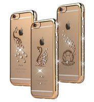Wholesale Chrome Bling Iphone Cases - Bling Diamond Peacock TPU Soft Silicone Transparent Case For Iphone 6 6S Plus I6 Chrome Flower Electroplate Rhinestone Phone Skin Back Cover