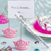 Wholesale Princess Baby Shower Place Cards - FREE SHIPPING+Baby Favors Pink Crown Themed Princess Place Card Holder +100pcs LOT+Very Good For Baby Shower 0426#