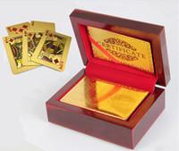 ingrosso carte blu di base-Eccellente mazzo di carte da gioco di poker in oro 24k 99,9% con regalo speciale scatola di legno certificato