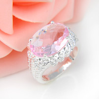 Wholesale Unique Gifts Valentine - Bulk 3Pcs lot Valentine Day's Gift Unique Oval Shaped Pink Topaz Crystal Gems Russia 925 Sterling Silver Plated USA Weddiing Party Ring