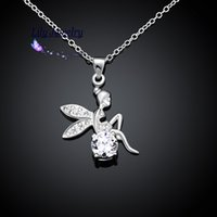 Wholesale Tinkerbell Pendants - High Quality New Style Fashion Jewelry Silver Plating Pendant Necklace Cute Tinkerbell N070