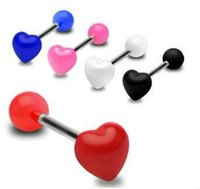 Heart Design 100pcs / Lot Uv Acrílico Jóias Body Piercing Tongue Ring Tongue Barbell