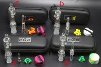 Wholesale Zipper Glasses Box - 10mm 14mm Mini Nectar Collector Kit Dab Rig Glass Water Pipe Thick Oil Rigs Glass Bongs With Titanium Quartz Nail With Zipper Case