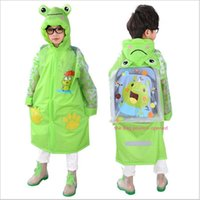 Wholesale Kids Pvc Raincoat - Student Raincoat for Children Kids Girls boy rainproof Rain Coat Waterproof PVC Tastless Raincoats Practical Schoolbag Rain Coat
