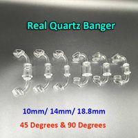 Wholesale Real Male - 100% Real Quartz Banger 10mm 14mm 18mm Quartz Domeless Nail Female Male 45 Degrees Quartz Banger Nail