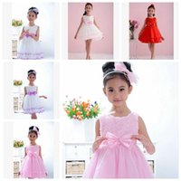 Wholesale Ems Flower Red - EMS free 2015 Kids Clothing Girls' Dresses Costumes Baby Girl Dress Flower Girls Princess Dresses