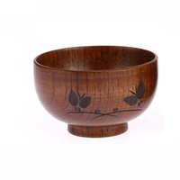 Wholesale Rice Butterflies - Natural Jujube Wooden Bowl Handwork Butterfly Carved Pattern for Soup Rice Miso LB