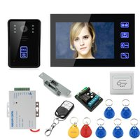 "Wholesale Cheap Door Camera - Cheap 7"" Wired Color Video Door Phone Intercom System+Electronic Door Lock+Exit Button+Electric Strike Lock+Remote Controller"