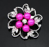 Wholesale Wholesale Shoes Jewerly - Flowers Alloy Pearls Metal Rhinestone Brooch Pin Jewerly Cloth Shoes Bag DIY flowers Accessories H001