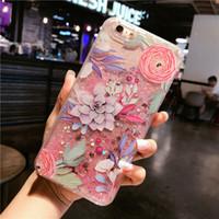 Wholesale korea phones - South Korea relief flamingo flash powder quicksand i 7 mobile phone shell 6S plus liquid personality protective sleeve
