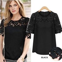 Wholesale Womens Crochet Short Sleeve Top - 4xl 5xl Plus Size Womens Clothing NEW 2016 Summer Fashion Casual White Short Sleeve Crochet Lace Chiffon Blouses Women Tops