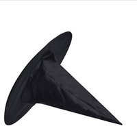 Wholesale Halloween Black Witch Hat - Black Oxford Burst Seal Hood Harry Potter Magic Hat Halloween Witch Hat All Black Wizards Hats 23g