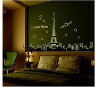 Blackboard Sticker PVC Famous Landmark Bedroom Home Television Wall Art  Decor Wallpaper New Creative Paris Eiffel