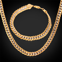 Wholesale Gold Filled Chain Bracelet - 6MM Gold Chain 18K Stamp Men Women 18K Two Tone Gold Plated Curb Chain Necklace Bracelet Set