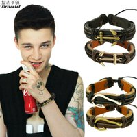 Wholesale European Style Fashion Bracelet - HOT Factory Promotion! Infinity Anchors Bracelet European and American Fashion Punk Style Jewelry Handmade Charms Leather Bracelets For Men