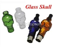 Wholesale Skull Tanks - Glass Globe Bulbs Skull Clearomizer with Replacement Ceramic coil head core Atomizers Electronic Cigarette Wax Dry Vaporizer Tank