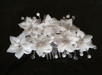 Wholesale Bridal Clips Brooches - New Arrival Beaded Wedding Hair Accessories Flower Wedding Church Pearls Hair Accessories With Brooch Pin Hair Clip White Bridal Flowers