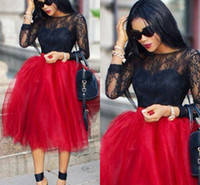 Wholesale Summer Gowns For Women - Fluffy Red Tulle Skirts For Women Fixed Satin Waist Tea Length Ball Gown Tutu Short Party Skirts African Black Girls Maxi Skirts