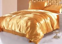 gelbe königin bettwäsche gesetzt großhandel-7 stücke Silk Gold bettwäsche set satin blätter California könig königin volle größe gelb bettdecke bettlaken bettlaken ausgestattet bett in einem beutel bettdecken