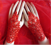 Wholesale Bridal Lace Beads - New Arrival Cheap In Stock Lace Appliques Beads Fingerless Wrist Length With Ribbon Bridal Gloves Wedding Accessories